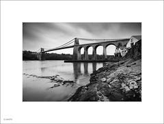 Menai Straits Bridge in the rain (John Leech) Tags: menai straits anglesey north wales thomas telford suspension
