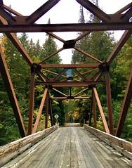 Harlequin (Ntvgypsylady) Tags: bridge river stehekinriver autumn trees leaves foilage sky fallcolors