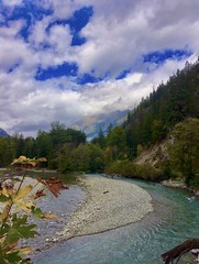 Upriver (Ntvgypsylady) Tags: stehekinriver river glacierwater fishing clouds sky mountains trees leaves foilage rocks riverbed maple tree firtree pinetrees ncra pnw wenatcheenationalforest park pct stehekin