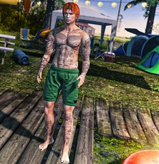 Camp... (ThiegoFire) Tags: kuni lake sl secondlife style tattoo letistattoo narcissus men man boy bento photo photography catwa signature sexy handsome sun lights yellow blue water blogger blog hair hairstyle