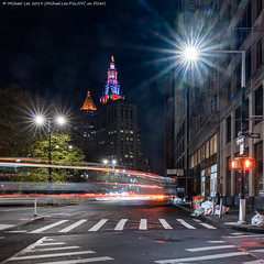 Park Row (20191111-DSC08859-Edit) (Michael.Lee.Pics.NYC) Tags: newyork municipalbuilding thurgoodmarshallfederalcourthouse night veteransday architecture cityscape cupola illuminated color sony a7rm4 fe24105mmf4g parkrow longexposure lighttrail composite