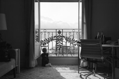 Room with a View - Montreaux (Adox Silvermax) (Harald Philipp) Tags: travel vacation blackandwhite bw holiday mountains alps film tourism window monochrome contrast analog 35mm dark iso100 mono hotel schweiz switzerland blackwhite infant colorful europe european shadows view terrace swiss balcony grain terrasse rangefinder alpine ethereal shutters diafine destination 135 nophotoshop schwarzweiss coolscan roomwithaview luxury viewfinder rollei35 sonnar montreaux classiccamera historicbuilding filmphotography nocolor rollei35se iso80 primelens adox 5000ed nikon5000ed haraldphilipp silvermax montreauxpalacehotel