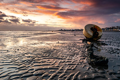 Buoy and Mud. (daveknight1946) Tags: essex thorpebay riverthames mud sunset buoy chain clouds