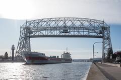 Fivelborg Ship under the Lift Bridge, Canal Park, Duluth 11/12/19 (Sharon Mollerus) Tags: shipping canalpark minnesota duluth fivelborggeneralcargoship lakesuperior liftbridge mn a19