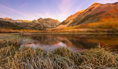North Lake Subtle Pink Sunrise (optimalfocusphotography) Tags: autumn usa landscape nature reflection reflections lake fall clouds northerncalifornia california inyonf sierranevada trees sky northlake inyocounty aspens bishop mountain