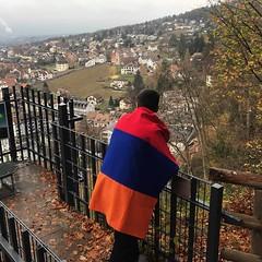 Armenian football fan in Vaduz (Alexanyan) Tags: uefa national league liechtenstein 2018 armenia armenian armenien europe capital city supporter team fan flag vaduz