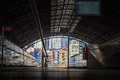 Bilbao train station - Spain (Patrik S.) Tags: ngc sony a7m3 a7iii alpha train platform spain bilbao bizkaia travel commute northern passengers sack station houses colorful floor deep down waiting departure arrival ticket screen timetable city citylife skyline riding time people day service railway renfe casas entrenar estación ciudad viaje boleto track pista llegada salida pasajero pas pasajera españa camino