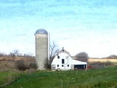 Big silo (novice09) Tags: barn silo countryside rural farm artistic painterly digitalartpainting fotosketcher ipiccy