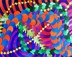 Watercolor Painting (Imara U.) Tags: art arte aquarela artista artist abstract artnouveau watercolor watercolors pattern painting patterns work pintura colorful colors color colorido cores cor curves creation creative curvas contemporaryart circles lines linhas linescurves