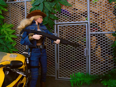 Checking the raptor paddock. (Blondeactionman) Tags: bamhq agent of bam dannii dinosaur valley diorama playscale one six scale doll action figure phicen photography