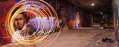 Tunnel Lightpaint (- ABL -) Tags: rhein bridge brücke mainz wiesbaden sony selp1650 ilce6000 water wasser mirror reflections arts fire wool steelwool stahlwolle nightshot funken sparks sparkles circles kreise graffiti tunnel unterführung rheinufer fx