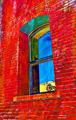 A Vibrant Window (creepingvinesimages) Tags: hww window brick colors artistic blue red yellow portland oregon outdoors street samsung s9 pse14 topaz sme