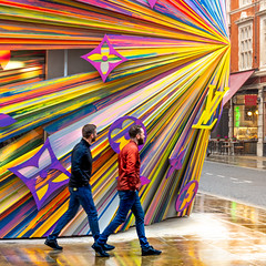 Get To The Point (DobingDesign) Tags: streetphotography streetart street people colour colourful color colourpop stripes diagonals london londonstreets louisvuitton facade shopping shoppers shopwindow
