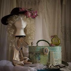 Mood Board Still Life (The Good Brat) Tags: colorado us stilllife dressingroom jewelry jewelrybox shoes heels perfumebottle brooch dresses victorian hat wig arrangement moodboard