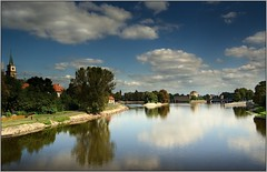 River Elbe in the historic town of Nymburk (piontrhouseselski) Tags: cz bohemia nymburk elbe labe river sky water