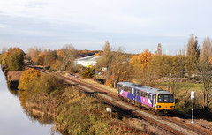 144009 - Crowle (Andrew Edkins) Tags: 144009 pacer canon geotagged light travel canal passenger crowle lincolnshire england uk dmu unit november 2019 water railwayphotography commuter stopper autumn winter trees train diesel bus trip northernrail