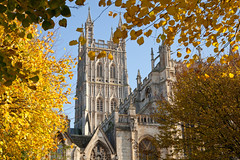 Autumn, Gloucester Cathedral (archidave) Tags: gloucester medieval church cathedral st peter abbey gothic tower perpendicular autumn trees