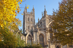 Autumn, Gloucester Cathedral (archidave) Tags: gloucester medieval church cathedral st peter abbey gothic perpendicular tower autumn trees