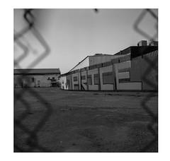 Price (ADMurr) Tags: la eastside night fence price hasselblad 500cm 80mm zeiss planar black white bw square 6x6 dbb151