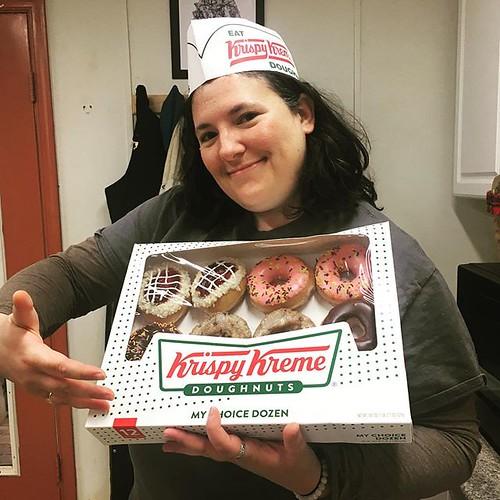 Our amazing volunteer @emilycockrell brought @krispykreme and hot chocolate to the lab today. We love our volunteers and donuts! #donuts?? #krispykreme #volunteer #virginiaisforvolunteers #thankyou
