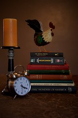 Time to Start that Reading List (The Good Brat) Tags: colorado us stilllife rooster candle clock alarmclock reading books readinglist time timetostart wakeup
