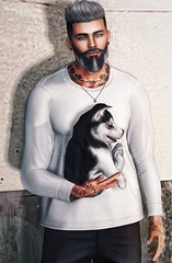 [ 📷 - 174 ] (insociable.sl) Tags: model peppersalt husky companion animal pet puppy dog ink tattoo beard hipster boy man male edit sl secondlife elemens magnificient