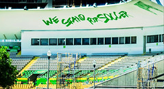 We stand for soccer,,, (Pedro1742) Tags: seats empty letters green stadium