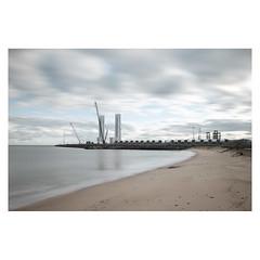 Turbine Construction (John Pettigrew) Tags: cranes tamron d750 nikon seashore industrial mundane documentary beach great windfarm topographics ordinary deserted seascape yarmouth imanoot johnpettigrew banal