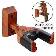 Ukulele Wall Mount, Auto Lock Ukulele Hanger, Hard Wood Base Ukulele Hangers For Wall, Ukulele/Violin/Banjo/Mandolin wall Stand (shop8447) Tags: auto base for hanger hangers hard lock mount stand ukulele wall wood