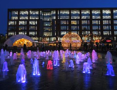 Glowing fountains in Manchester (Tony Worrall) Tags: manchester greatermanchester night evening dark shine lit light fun great led glow office arch architecture building block fountain waterfall wet water piccadilly gardens welovethenorth nw northwest north update place location uk england visit area attraction open stream tour country item greatbritain britain english british gb capture buy stock sell sale outside outdoors caught photo shoot shot picture captured ilobsterit instragram
