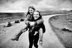 Travelin` Light (plot19) Tags: love light liv landscape sandy daughter woman plot19 photography portrait people path yorkshire young dales nikon north northern now national family england english britain british blackwhite blackandwhite piggy back