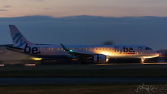 Flybe Embraer E195LR G-FBEF (Ben Stanley Hall) Tags: ejet regional transportation transport airport 7d2 canon flying flight fly flybe embraer e195lr gfbef sen southend london night pan panning airliner airline air avgeek avporn aviation