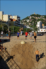 Friendly Contest I   Blanes, Catalonia (Flemming J. Gade) Tags: youngsters contest jump beach fun friends blanes catalonia