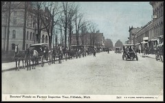 c. 1910 C.U. Williams Postcard - View of Cars and Horse-Drawn Carriages lined up in Street for Boosters Parade on the Factory Inspection Tour at Hillsdale, Michigan (Treasures from the Past) Tags: postcard vintage hillsdalemichigan usa hillsdale michigan horsedrawn carriages horsedrawncarriages