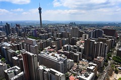 Johannesburg skyline from Ponte City (Hillbrow) (stephenccwu) Tags: southafrica hillbrowtower skyline nikonz6 johannesburg jozi hillbrow pontecity