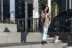 Waiting for a text (sasastro) Tags: gasholderpark stpancras dog phone shadow