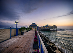 Pier at sunset in Lima, Peru (` Toshio ') Tags: toshio lima peru sunset southamerica larosanautica pier pacific ocean waves jetty restaurant boardwalk pathway sky clouds fujixt2 xt2 miraflores