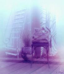 Set Aside (Loegan Magic) Tags: secondlife stilllife bag chair indoors monotone ladder curtain plant hat