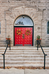 The Red Door (terrylw64) Tags: door red steps handrails church wreath hotsprings arkansas 2019 usa day nef raw nikon z7 urban downtwon