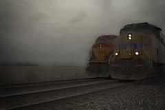 UP GE 5415 & KCS GE 3961 (RIVERBED IMAGES) Tags: kcs transportation trains railroads rails railroading localmotives dieseltrains fog