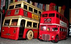 Betal tin plate Q type bus and Mettoy /Corgi tin plate Routemaster. (Ledlon89) Tags: betal toy toys bus buses qtypebus london trnasport lptb londontransport aec toybus londonbus londonbuses