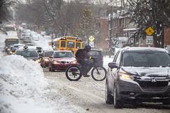 The winter rider / Rouler l'hiver (Jacques Lebleu) Tags: vélodhiver cycliste neige bancdeneige congestion automobiles autobus hiver saultaurécollet montréal ahuntsiccartierville