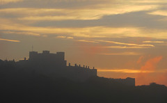 View of Dover Castle At Sunset, Kent, England (alexdavidwriter) Tags: dover kent england britain uk castle battlements outline sunset reddish skies fire clouds view towers medieval english europe twilight