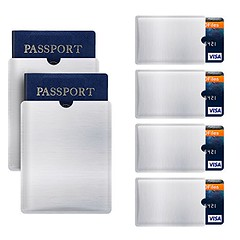 RFID Blocking Sleeve Anti Theft 4 Credit Card & 2 Passport Holder Wallet Pocket (shop8447) Tags: anti blocking card credit holder passport pocket rfid sleeve theft wallet