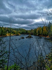 Saint-David-de-Falardeau, Québec, Canada (martinee9934) Tags: river forest water trees colors blue grey green cloudy clouds view landscape nature fall cold seasons quebec canada travel roadtrip hike hiking adventure explore world outdoors weekend vacation photo