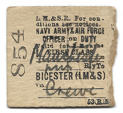 Officer's First Class LMS Ticket (R~P~M) Tags: train railway ticket lms londonmidlandscottishrailway edmondson military worldwar2 bicester england uk unitedkingdom greatbritain