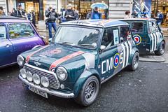 20191113_F0001: A Mini with a mini trailer (wfxue) Tags: car regentstreetmotorshow regentstreet london mini classic minicooper vintage wheels trailer people street crowd