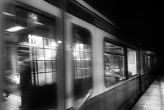 passing by (Renate R) Tags: train blur reflections blackwhite motionblur trainstation berlin zug bewegungsunschärfe sbahn bahnhof spiegelung night nacht