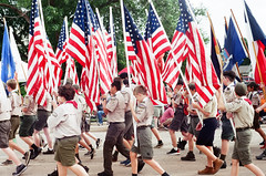 Bearing the Flags (radargeek) Tags: film 35mm 2019 parade oklahoma minolta x370s edmond libertyfest july 4thofjuly
