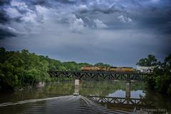 UNION PACIFIC (RIVERBED IMAGES) Tags: unionpacific csxrailroadbridge railroads river rails railroading railroadbridge bridge clouds transportation trains defianceohio